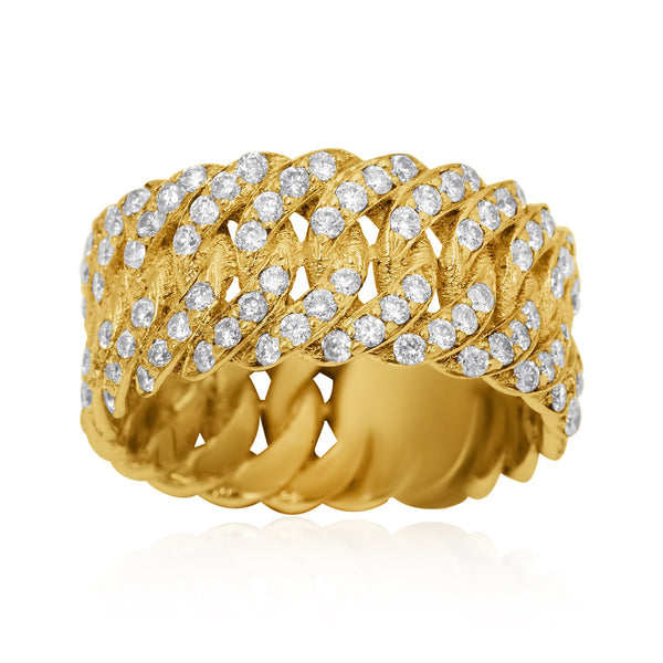 Diamond Eternity Cuban Ring in 14k Yellow Gold 1.7 Ctw