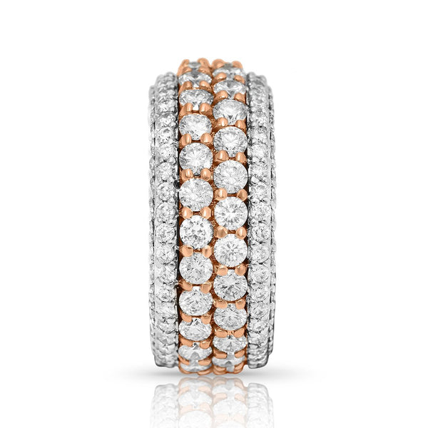 Stacked Diamond Eternity Band in 14k Rose Gold 4.71 Ctw