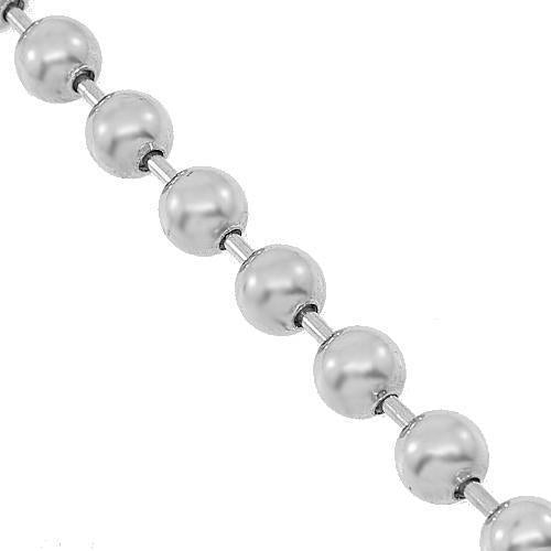 10K White Gold Mens Ball Bead Chain 4 mm