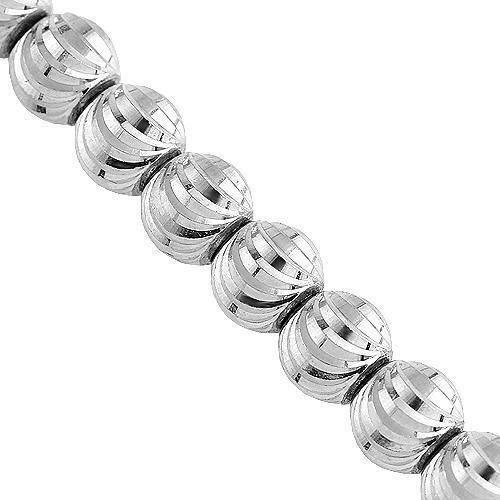 10K White Gold Mens Moon Ball Bead Chain 7 mm