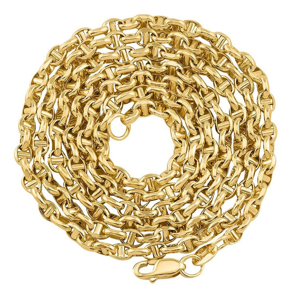 10K Yellow Gold Concave Anchor Link Chain 3 mm