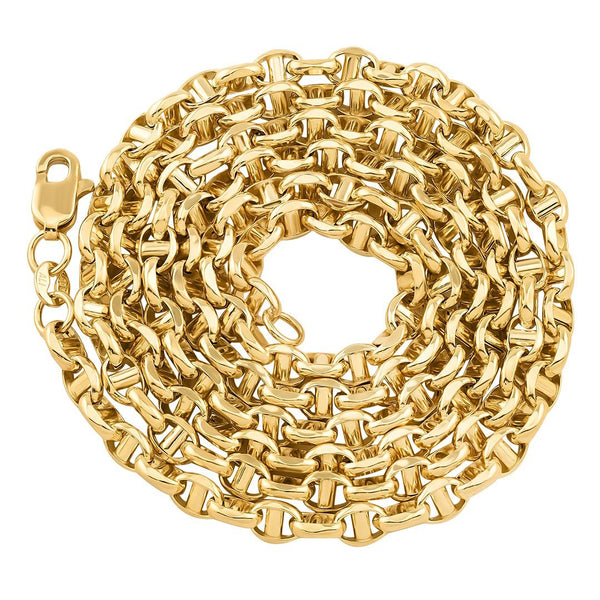 10K Yellow Gold Concave Anchor Link Chain 4 mm