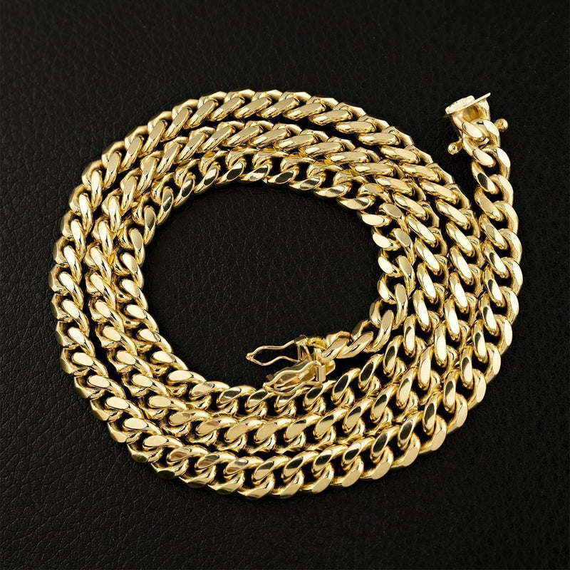 10k Yellow Gold Cuban Link Chain 7 mm