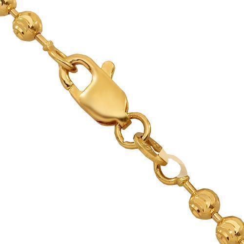 10K Yellow Gold Mens Ball Bead Moon Chain 3 mm