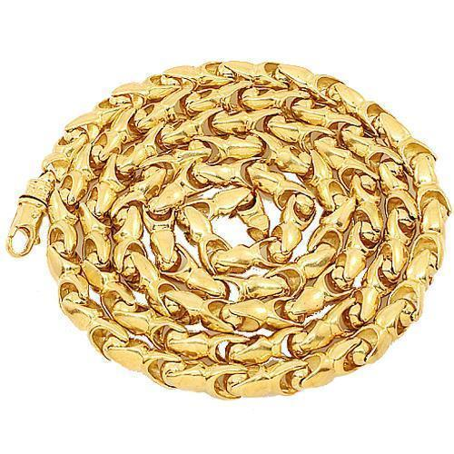 10K Yellow Gold Mens Fancy Chain 7 mm