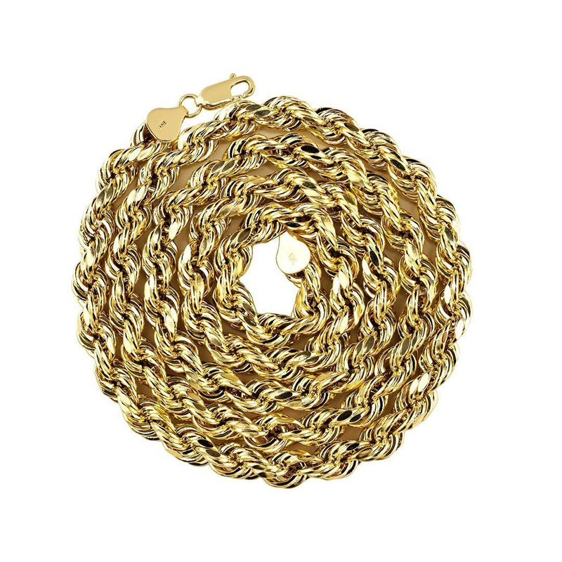 10k Yellow Gold Rope Chain 6.5 mm