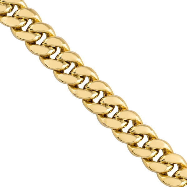 10k Yellow Semi-Solid Gold Cuban Link Chain 5.5 mm