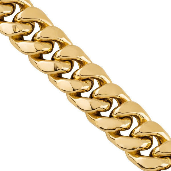 14k Semi-Solid Yellow Gold Cuban Link Chain 12 mm