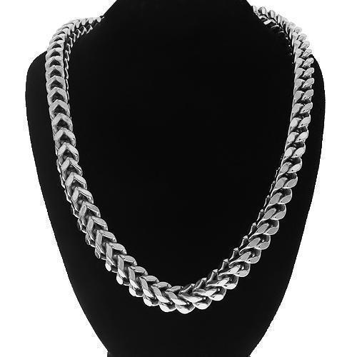 0245f80eb0ae4 14K Solid White Gold Mens Franco Chain 7 mm