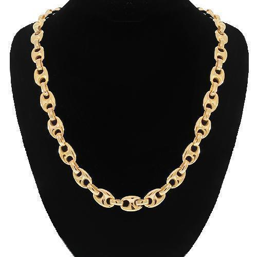 14K Solid Yellow Gold Fancy Chain 6 mm