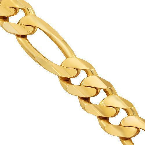 14K Solid Yellow Gold Fancy Chain 9 mm