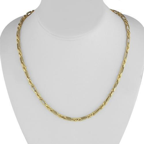 14K Solid Yellow Gold Mens Figaro Rope Chain