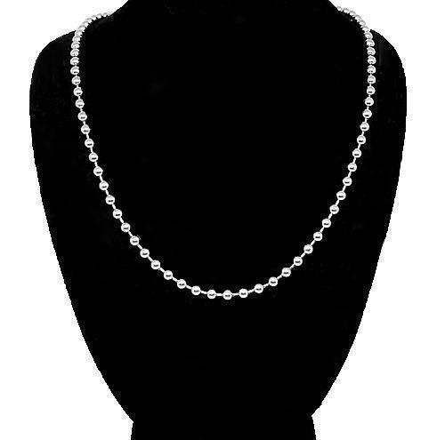 14K White Gold Mens Ball Bead Chain 3 mm