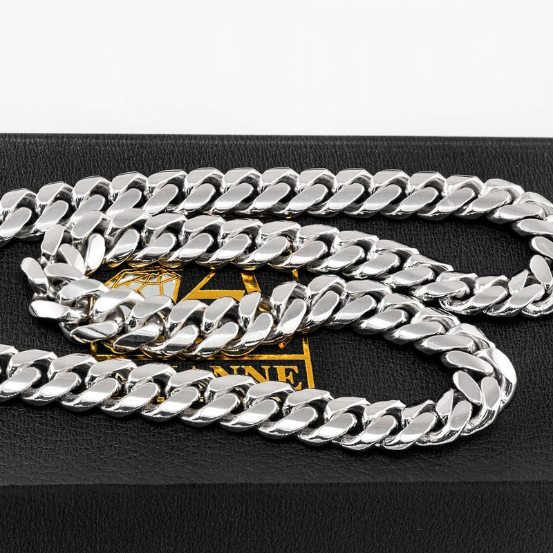 14K White Gold Mens Cuban Chain 7 mm