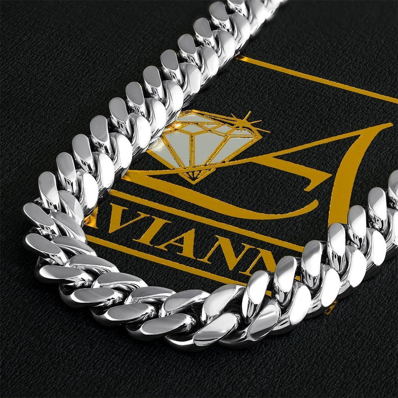14k White Gold Miami Cuban Link Chain 10 mm