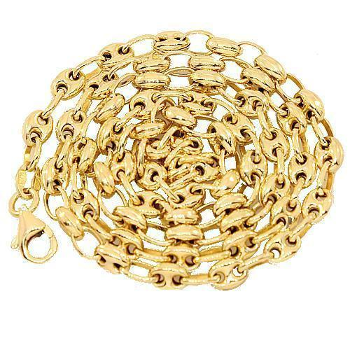 14K Yellow Gold Fancy Anchor Puffed Chain 4 mm