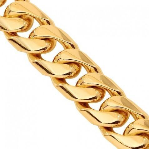 14K Yellow Gold Mens Cuban Chain 11 mm