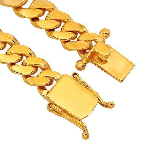 14K Yellow Gold Mens Cuban Link Chain 8 mm