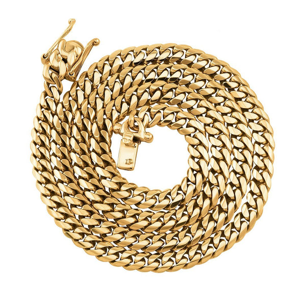 14k Yellow Gold Miami Cuban Link Chain 6 mm