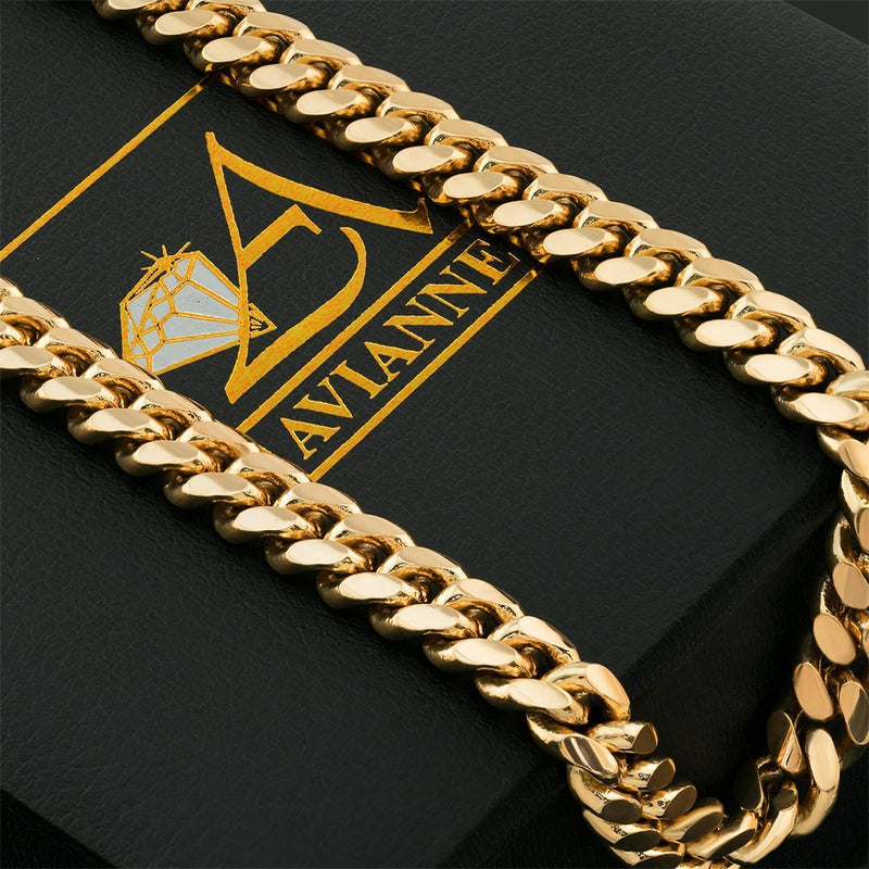 14k Yellow Gold Miami Cuban Link Chain 8 mm