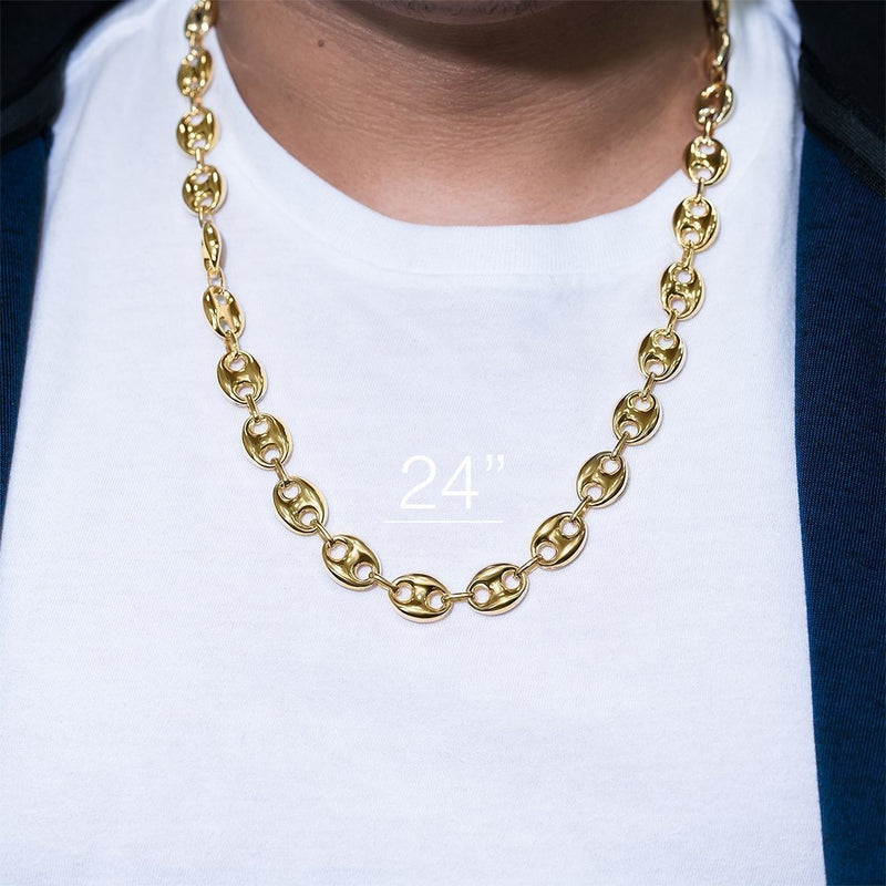 14k Yellow Gold Puff Link Chain 12.25 mm