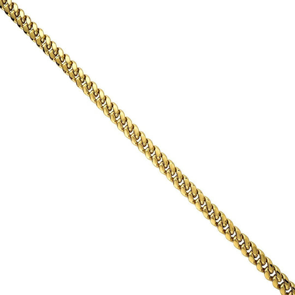 14k Yellow Gold Semi-Solid Cuban Link Chain 6.5 mm