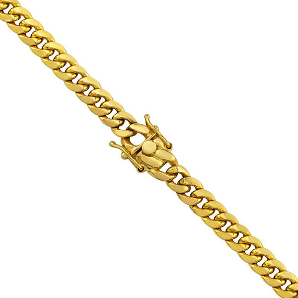 14k Yellow Gold Semi-Solid Cuban Link Chain 7 mm