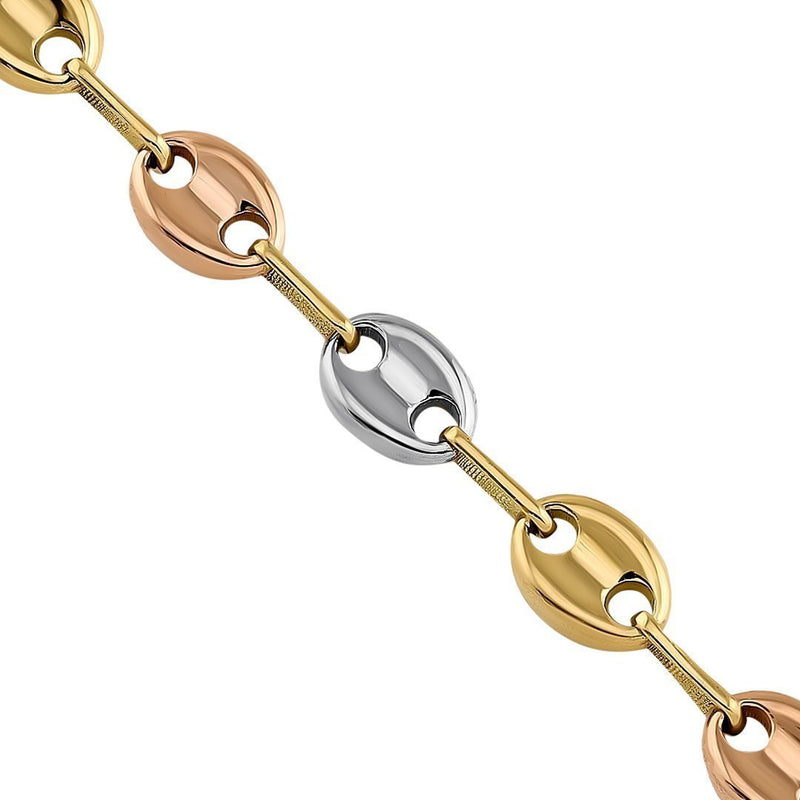 18K Three-tone Gold Puff Link Chain 6 mm