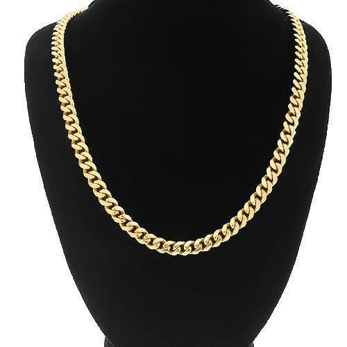 18K Yellow Gold Classic Mens Cuban Chain 7 mm