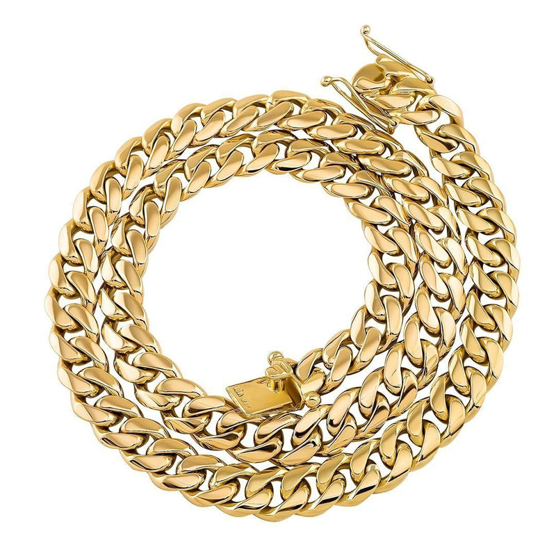 18k Yellow Gold Cuban Link Chain 10.5 mm