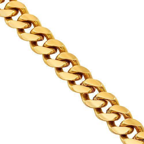 18K Yellow Gold Mens Cuban Link Chain 5 mm