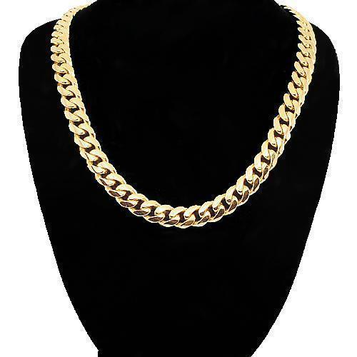 18K Yellow Gold Mens Cuban Link Chain 7 mm