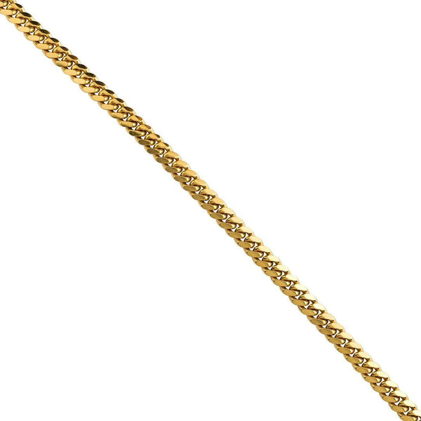 18k Yellow Solid Gold Cuban Link Chain 7 mm