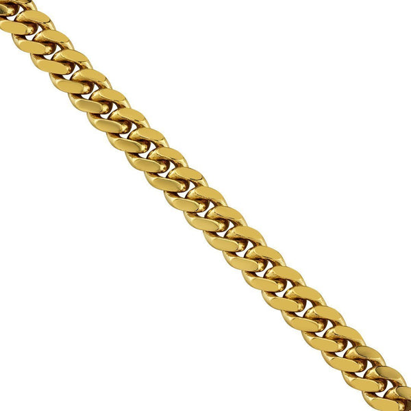 18K Yellow Solid Gold Cuban Solid Gold Chain 7 mm