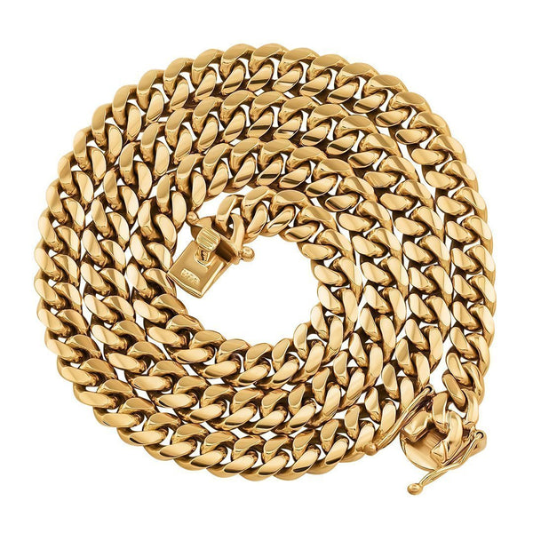 18K Yellow Solid Gold Mens Cuban Chain 5 mm