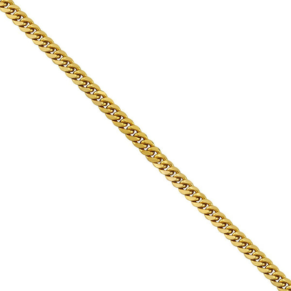 Cuban Link Chain in 14k Semi-Solid Yellow Gold 7.5 mm