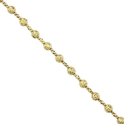 14k Yellow Gold Rope Chain Polished Ball Bead Pendant Necklace