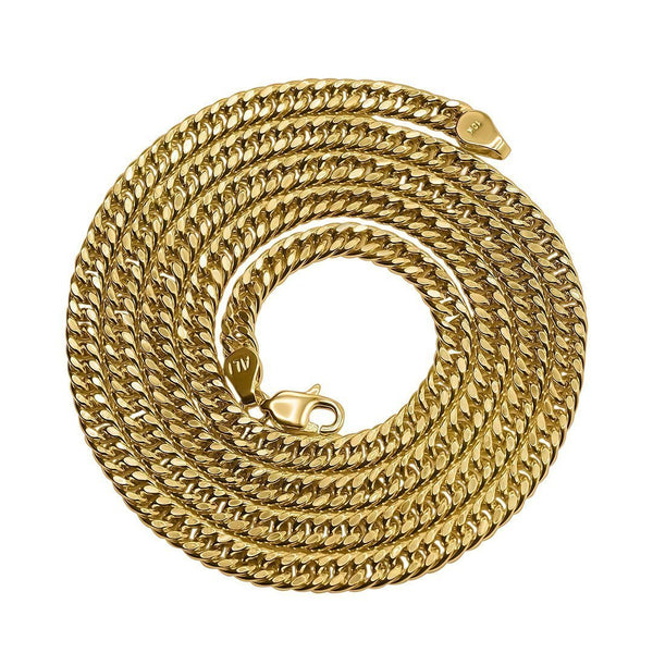 Hollow Cuban Link Chain 10K Yellow Gold 4.5 mm