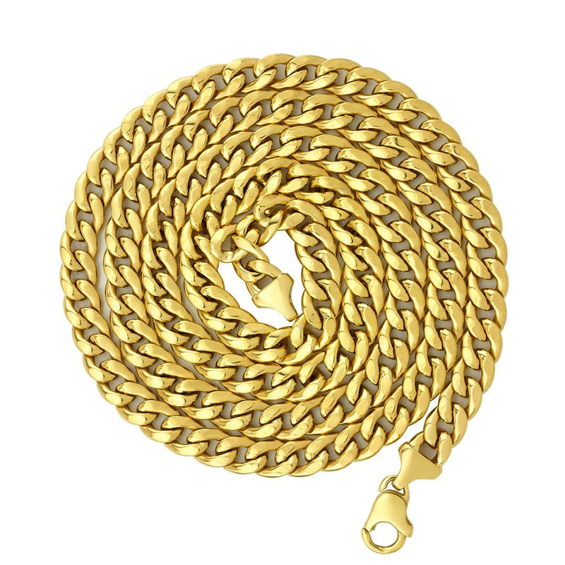 Mens Hollow Cuban Link Chain in 10k Gold 34 inches