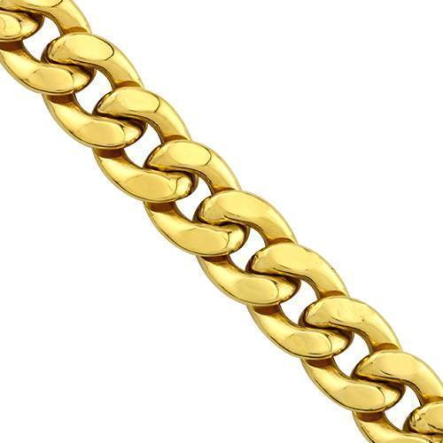 Mens Hollow Cuban Link Chain in 10k Yellow Gold 10 mm