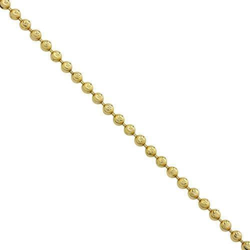 Moon Cut Ball Bead Chain in 14k Yellow Gold 3 mm