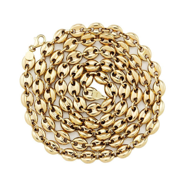 Puff Link Chain in 14k Yellow Gold 6 mm