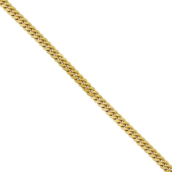 Semi-Solid Cuban Link Chain in 14k Yellow Gold 7.5 mm