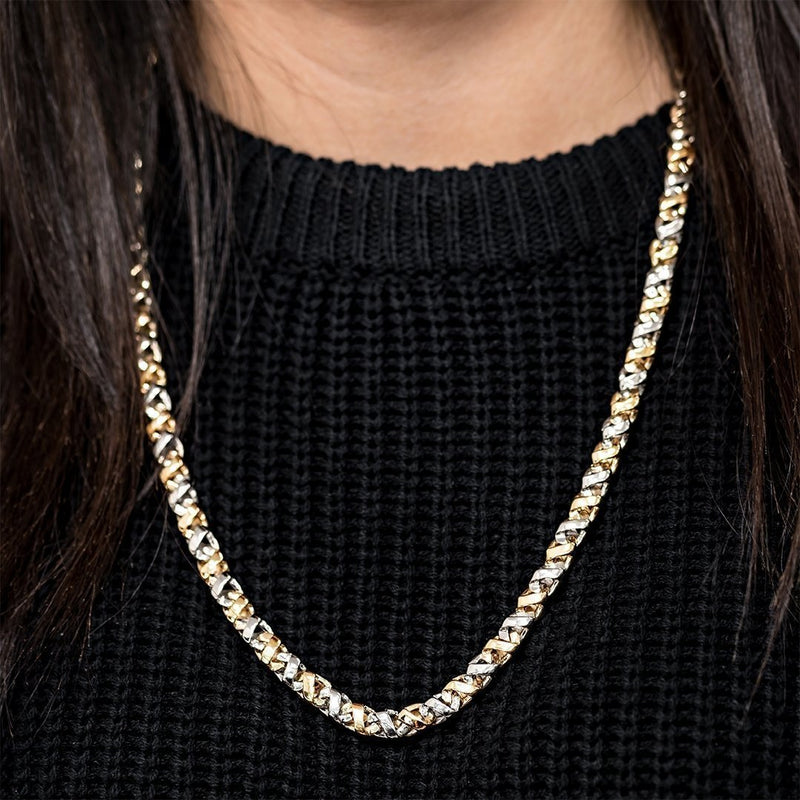 Two Tone Avianne Link Chain in 14k Yellow and White Gold 7 mm