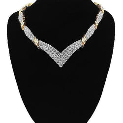 10K Solid Yellow Gold Womens Diamond Necklace 7.00 Ctw