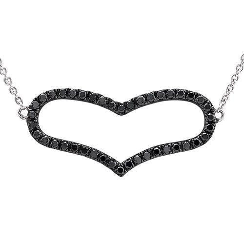 Black Rhodium Plated, White 14k Black Diamond Heart Necklace 0.38ctw