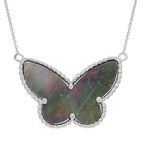 White 14K Solid White Gold Womens Diamond Butterfly Necklace 0.50 Ctw