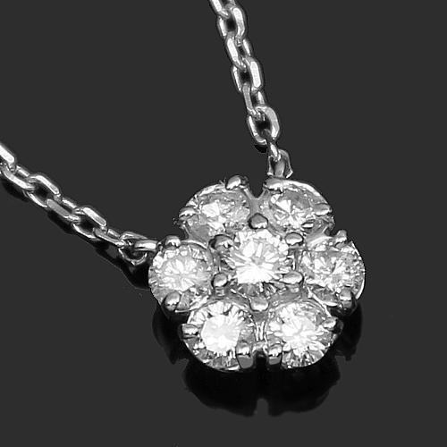 14K White Solid Gold Womens Diamond Necklace 1.00 Ctw