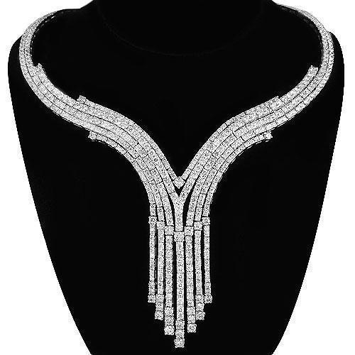 14K White Solid Gold Womens Diamond Necklace 10.75 Ctw