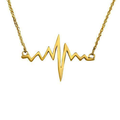 Yellow 14k Yellow Gold Diamond Heart Beat Necklace 0.22ctw